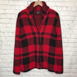 Chaps Red Black Buffalo button sweater jacket L